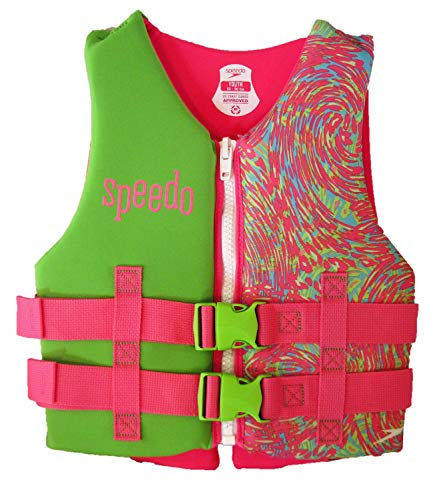 Speedo Youth Neoprene Child Lifevest Flotation Device 50-90 lbs. - Girls - Pink/Blue