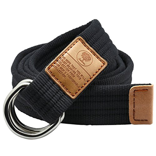 Samtree Canvas D Ring Belt,Adjustable Solid Color Military Style Web Belt - Adjustable Loop Belt