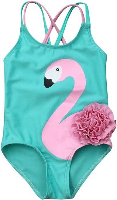 Amazon Com Traje De Baño De Flamenco Con Diseño De Flor 3d Para Bebés Y Niñas Clothing