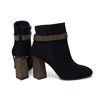 Martin Botas Botines 8,5 cm Chunkly Heel Mujeres Toe Square Seude Flash Taladro Talón