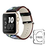Solomo for Apple Watch Band 42MM,[Flower Series] Leather Fresh Pastoral Style Replacement iWatch Strap Women/Girls Wristband with Stainless Metal Clasp for Apple Watch Series 3,Series 2/1 (Black blue)