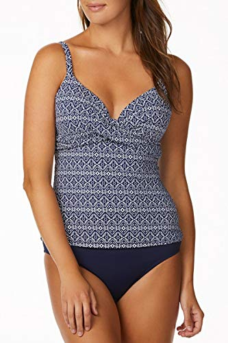 - Leilani Women's Twist Front Underwire Tankini Swimsuit Top Pushup, Tile Print, 8