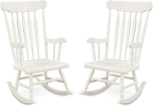 Giantex Rocking Chair Solid Wooden Frame Outdoor Indoor Rocker