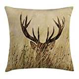 Ambesonne Antler Decor Throw Pillow Cushion Cover, Whitetail Deer Fawn in Wilderness Stag Countryside Rural Hunting Theme, Decorative Square Accent Pillow Case, 24 X 24 Inches, Brown Sand Brown