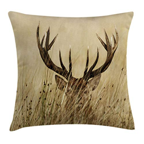 Ambesonne Antler Decor Throw Pillow Cushion Cover, Whitetail Deer Fawn in Wilderness Stag Countryside Rural Hunting Theme, Decorative Square Accent Pillow Case, 18 X 18 Inches, Brown Sand Brown ()