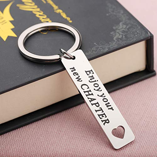 """Enjoy Your New Chapter"" key chain by SEIRRA"