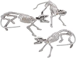 """Halloween Decoration 3 PCs 14"""" Pose-N-Stay Rat Skeleton Plastic Bones with Posable Joints for Pose Skeleton Prop Indoor/Outdoor Spooky Scene Party Favors Décor."""