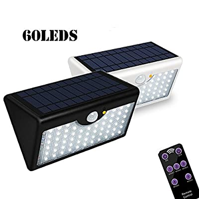 SunCaptor5 Modes Outdoor Solar Wall Light With Remote Control, Super Bright 60 LED Wireless Motion Detector Security Lamp 1300LM Waterproof For Wall, Garage, Garden, Entrance