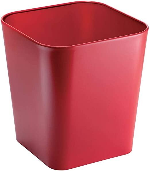 Garbage Container Bin Kitchens Home Offices Powder Rooms mDesign Decorative Metal Square Small Trash Can Wastebasket for Bathrooms Red MetroDecor 0315MDBA