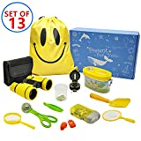 MIMIEYES Outdoor Exploreation Kit for Kids - 13 Pack Kids Adventurer Gift Set with Binoculars, Magnifying Glass, Compass, Flashlight, Whistle,Drawstring Bag, Butterfly Net, Bug Collector, Shovel