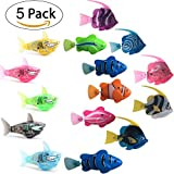 robots fish - Robot Fish Kit Activated Cat Meow Toy Fish Baby Bath Toy In Water Electric Turbot Clownfish Shark Toy (5 Pcs ) (Fish SET)