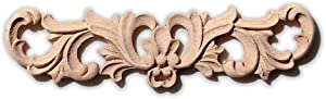 "Rubberwood Applique - roll Flower - 2 11/64"" W x 9 1/16"" L - Onlays and Appliques for Furniture,Mofatao's Millwork"