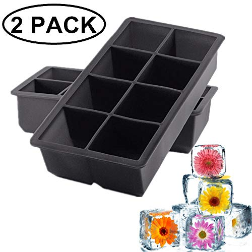 Large Square Ice Cube Trays 2-Inch Large Size Silicone Ice Mold Trays Flexible 8 Cavity Ice Maker For Whiskey & Cocktails, Keep Drinks Chilled -Reusable and BPA Free (2 pack square ice cube trays)
