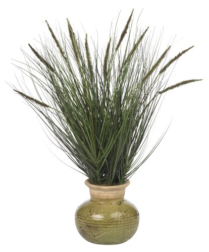 (Nearly Natural 4730 Grass with Mini Cattails Decorative Silk Plant, 27-Inch, Green)