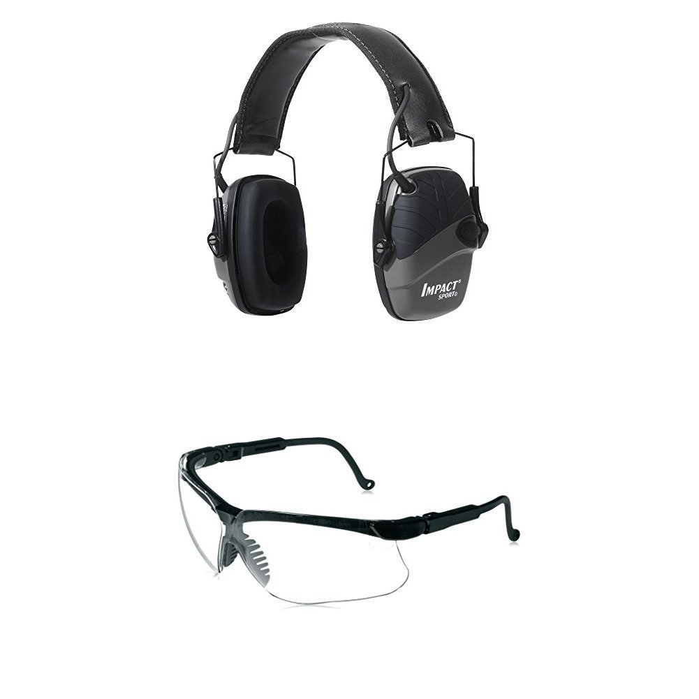 Howard Leight by Honeywell Impact Sport Sound Amplification Electronic Shooting Black Earmuff with Genesis Sharp-Shooter Shooting Glasses, Clear Lens
