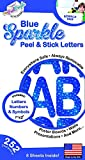 1' and 2' Peel & Stick Blue SPARKLE Letters, Everywhere Safe Decals, Always Removable Stickers By The Peel People