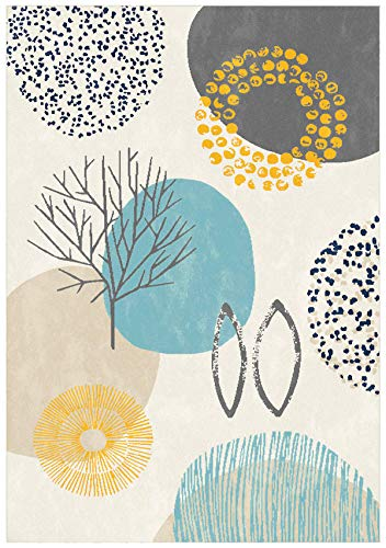 Modern Contemporary Next Colourful Floral Grey Blue Cream Gold Teal...