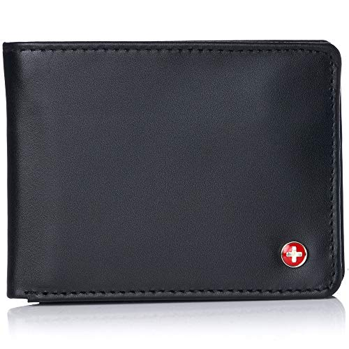 Alpine Swiss Mens RFID Safe Leather Wallet Slim Flip-out Bifold Trifold Hybrid Smooth Finish Black