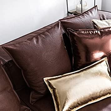 Ojia Deluxe Home Decorative Postmodern Art Metallic Soft Leather Throw Pillow Cover Cushion Case 18 x 18 Inch,Coffe