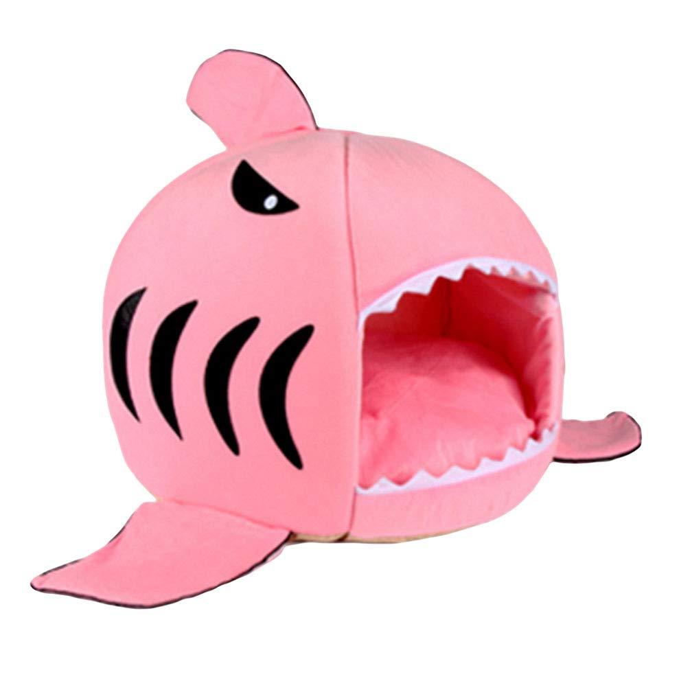 JEELINBORE Maison Niche de Chien Chats Rond Lit de Requin Panier Souple Chaud pour Chiot (Gris #1, S: 42 * 42 * 42cm)