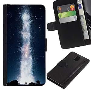 YiPhone /// Tirón de la caja Cartera de cuero con ranuras para tarjetas - Galaxia Vía Láctea - Samsung Galaxy Note 3 III
