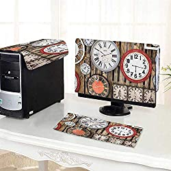 Jiahonghome Computer Cover 3 Pieces Clocks on The Wall Instruments of Time Ative Brown and Red Antistatic, Water Resistant /30