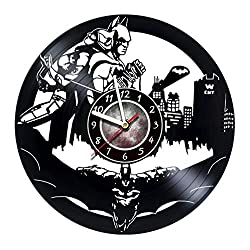 Iskra Shop Batman and Batgirl Vinyl Record Wall Clock - Get Unique Bedroom Wall Decor - Handmade Gift for Any Occasion - Gift Ideas for Boys and Girls, Men and Women - Unique Comics Modern Wall Art -