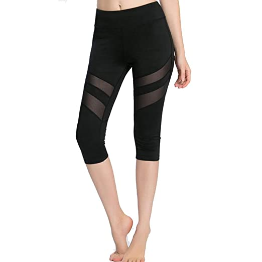 ee4572cc0c8aec Pocciol Mesh Yoga Leggings, Skinny High Waist Trousers Women Running Pants  Knee Length (S