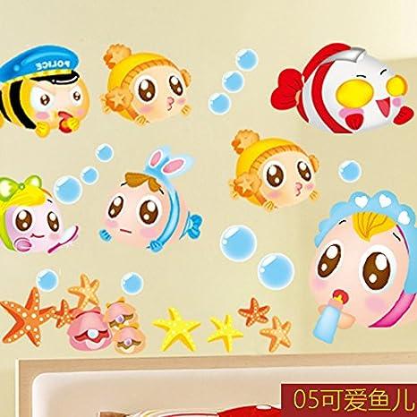 Adhesivo de pared extraíble JinTie Bubble fish Mundo ...