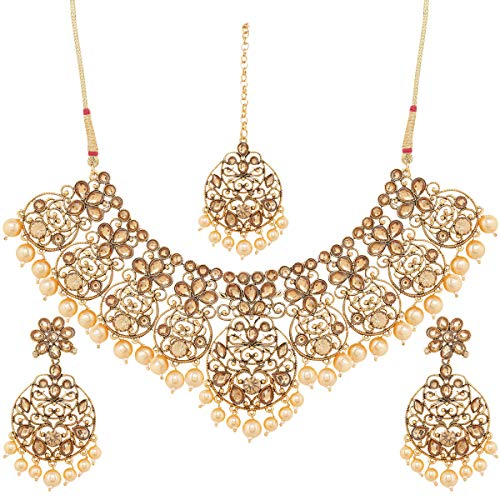 I Jewels Traditional Gold Plated Stone Studded & Pearl Necklace Set with Earrings & Maang Tikka for Women (M4109FL)