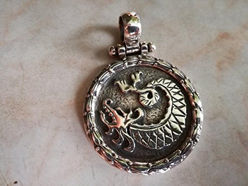 (Handmade Traditional Chinese Dragon Symbol Massive Pendant Serpent Snake Lizard Sterling Silver 925 Yellow Gold White Very Detailed Plate Necklace Men Handcrafted)