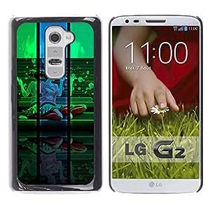 QCASE / LG G2 D800 D802 D802TA D803 VS980 LS980 / Retrato colorido diseño verde azul / Delgado Negro Plástico caso cubierta Shell Armor Funda Case Cover