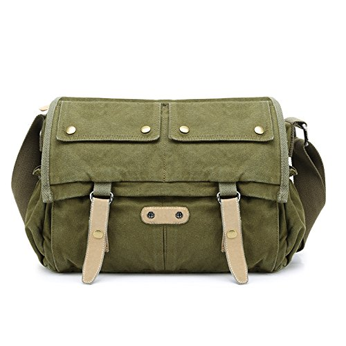 WenL Unisex Retro Mailman Bag Casual Shoulder Messenger Bag,Brown-XL Green