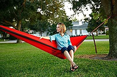Premium Outdoor Nylon Camping Hammock for Two, with Tree Straps Lightweight, Compact & Portable for Camping, Hiking, Backyard Lounging & More Made of Durable Parachute Nylon with Free 9ft Tree Straps
