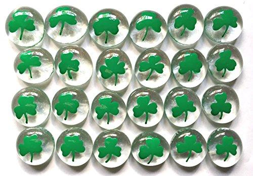 SHAMROCKS - Set of 24 Hand Painted Glass Gems; Party Supplies, Party Favor, Decoration, Token, Memoir, etc.let your imagination run wild!