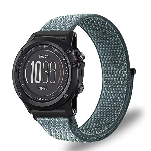Fintie Band for Garmin Fenix 5X Plus/Tactix Charlie Watch, Nylon Sport Loop Replacement Strap Bands with Adjustable Hook‑and‑Loop Fastener for Garmin 3 HR/5X/Tactix Charlie Smartwatch, Storm Gray