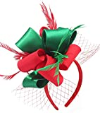 Fascinators for Women Tea Party Satin Feather Mesh Wedding Headband Kentucky Derby Headpieces(Christmas)(Red&Green)