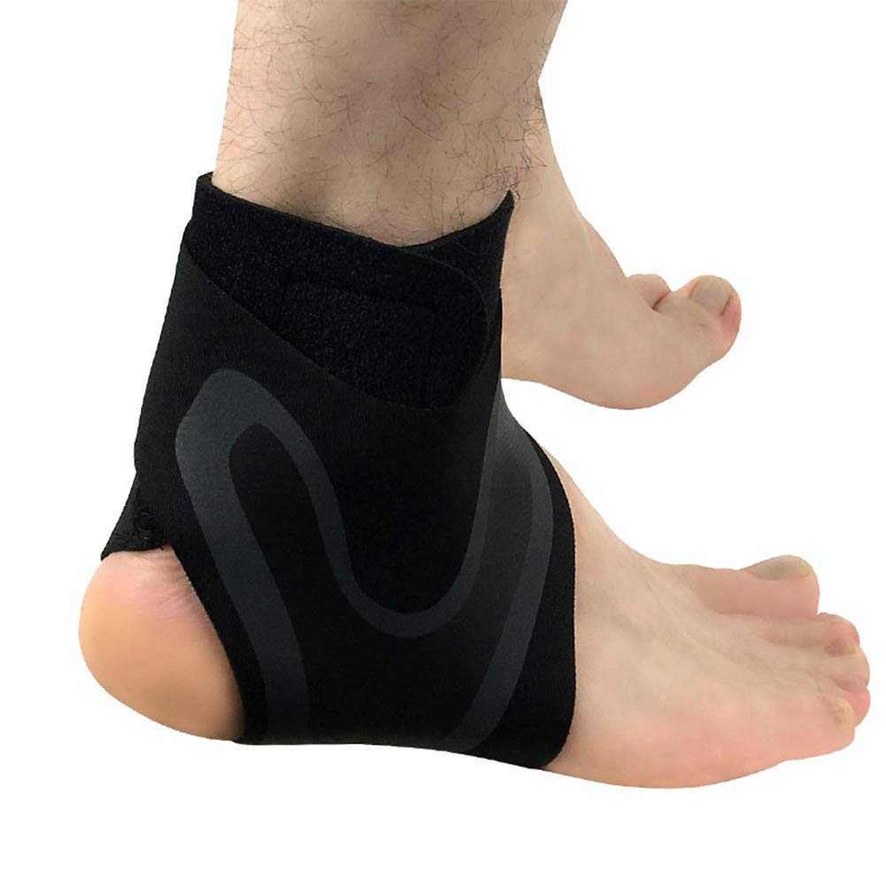 Alamana 1 Pc Ankle Bracer Anti-Slip Breathable Elastic Sports Ankle Basketball Climbing Foot Bracer Protector Black Right Foot S