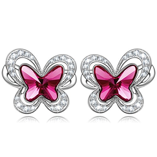 "KATE LYNN ""Butterfly Fairy"" Purple Violet Stud Earrings Made with Swarovski Crystals- the Garden of Eden"