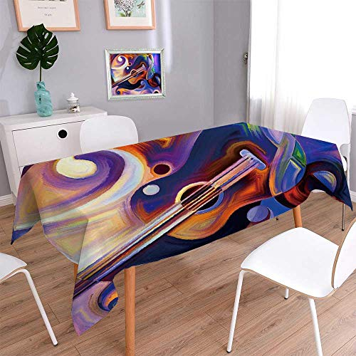 - PINAFORE HOME Polyester Cloth Fabric Cover Abstract on The Subject of Music and Rhythm Heavy Weight Cotton Linen Fabric Decorative/Oblong, 60 x 140 Inch