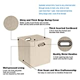 Storage Cube Basket Bin,Foldable Closet Organizer Shelf Cabinet Bookcase Boxes,Thick Fabric Drawer Container (4, Beige)