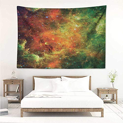 Outer Space,Wall Decor Tapestry North American and Pelican Nebula Gas Cosmic Planetary Object in Outer Space 93W x 70L Inch Tapestry Wallpaper Home Decor Orange Green