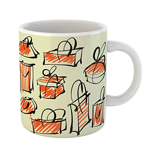Emvency Coffee Tea Mug Gift 11 Ounces Funny Ceramic Sketch Sketching of Shopping Symbols Graphic Retro Gifts For Family Friends Coworkers Boss Mug]()