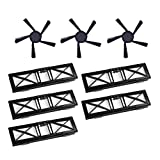 SODIAL 5Pcs Ultra Performance Filters & 3Pcs 5-Arms Upgraded Side Brushes Kit Replacement for Neato Connected D5 D6 D7 Wi-Fi Enabled Vacuum, Botvac D Series D75 D80 D85 Models