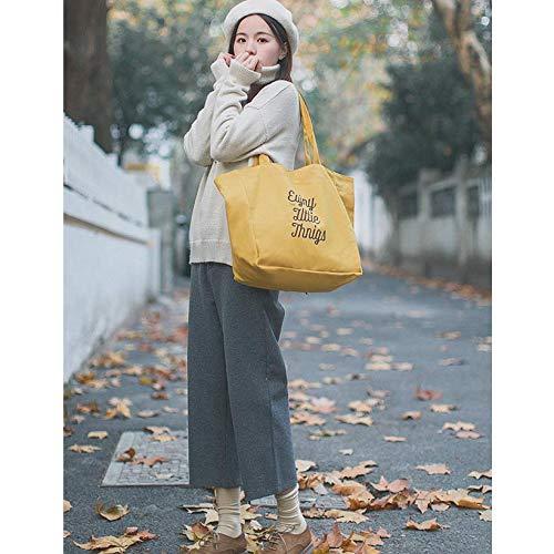 De Paquete Estudiante Mochila Sólido Cruz Señoras Hombro Literario llevar Style Color Lona Yellow Bolso Casual Mujer Viajero Bolsa qptxz5f