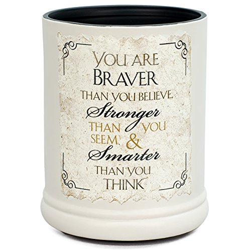 Elanze Designs You are Braver Stronger Smarter Ceramic Stoneware Electric Jar Candle Warmer ()