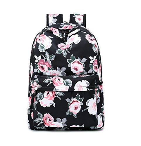 Teecho Waterproof Floral Backpack Purse for Women Cute School Backpack for Teen Black Peony