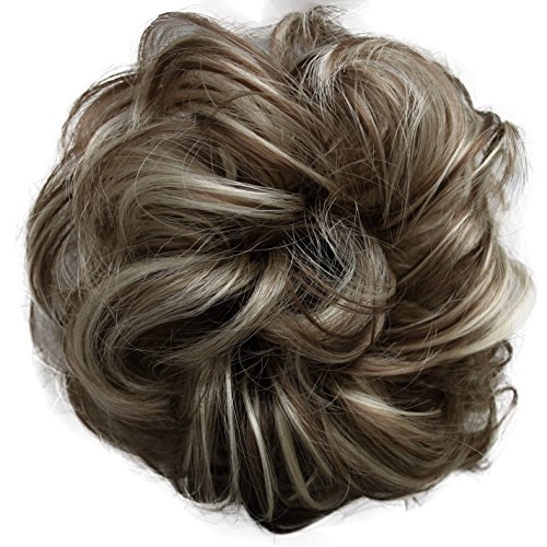 PRETTYSHOP Scrunchie Scrunchy Bun Up Do Hair piece Hair Ribbon Ponytail Extensions Wavy Curly or Messy Verious Colors (sandy blonde grey mix 12H88 G38A)