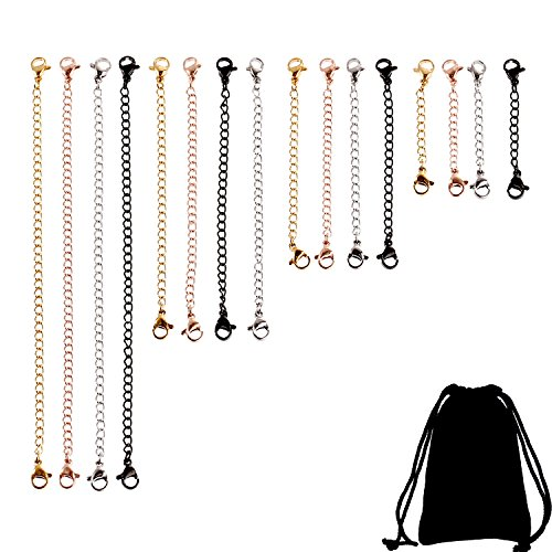 - TecUnite 16 Pieces Stainless Steel Necklace Bracelet Extenders Chain Sets for DIY Jewelry Making, 4 Colors and 4 Sizes
