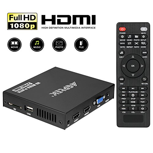 (Media Player, 2 HDMI Ports 1080P Full-HD Portable Digital Player, Play Video and Photos with USB Drive/SD Cards/HDD/External Devices, HDMI/AV/VGA Output)